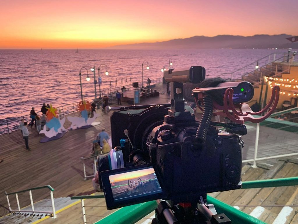 Filming at the Satna Monica Pier