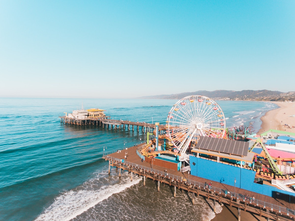 Aerial shot of the Santa Monica Pier
