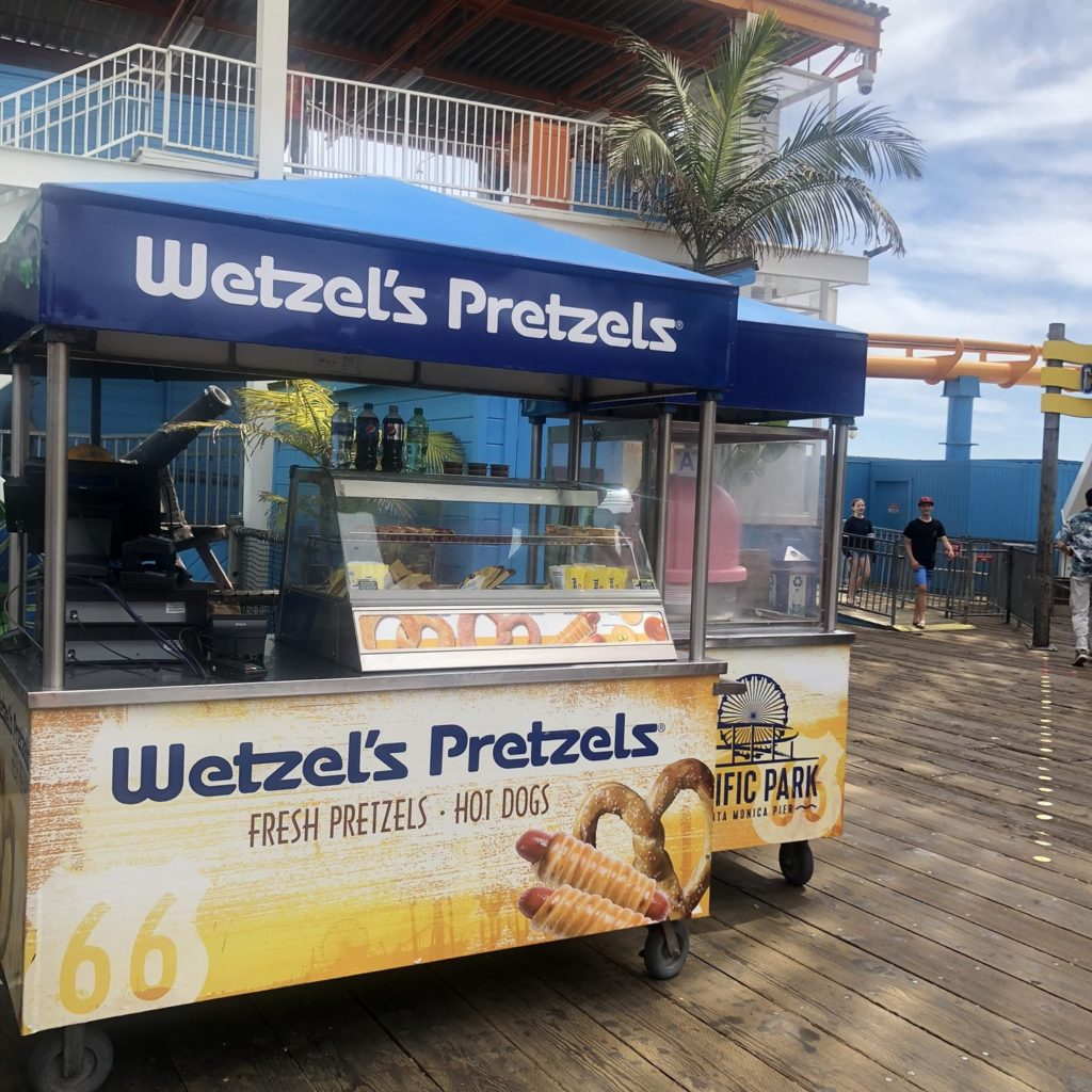 Wetzel's Pretzels cart on the Santa Monica Pier