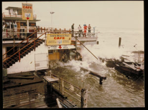Santa Monica Pier flooded with storm windows