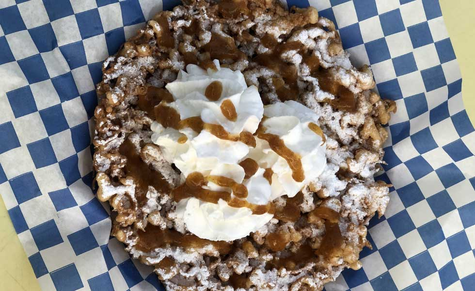 Persimmion funnel cake Pacific Park