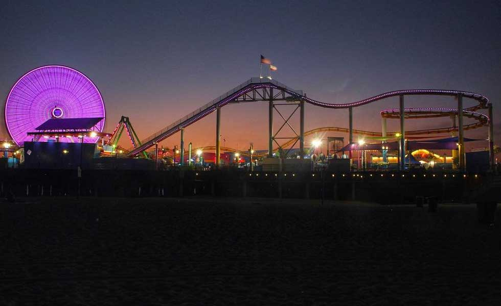 Santa Monica Pier at Night Purple Lights