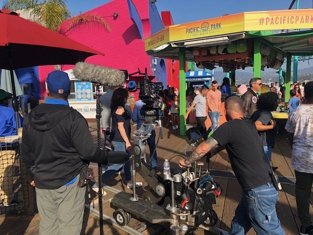 Filming on the Santa Monica Pier