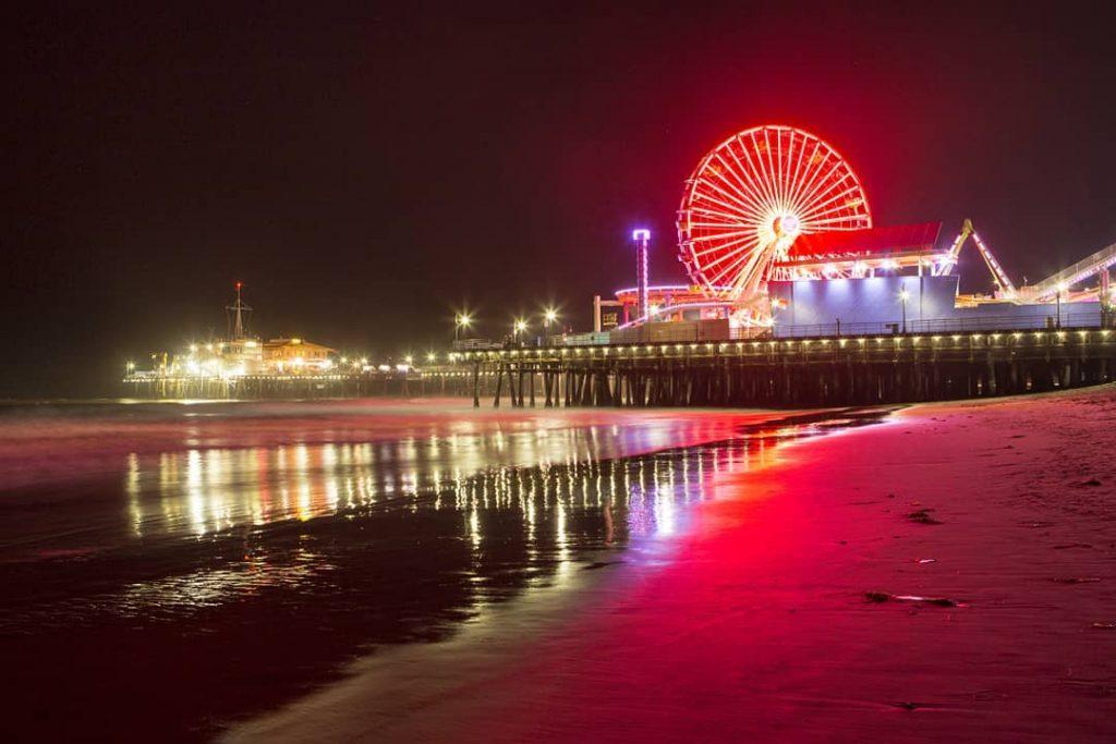 Santa Monica Pier Ferris Wheel Lit in Red