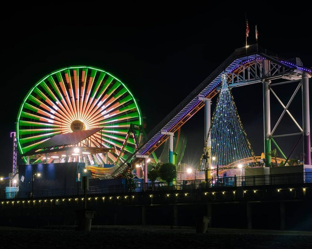 Holiday Decorations on the Santa Monica Pier