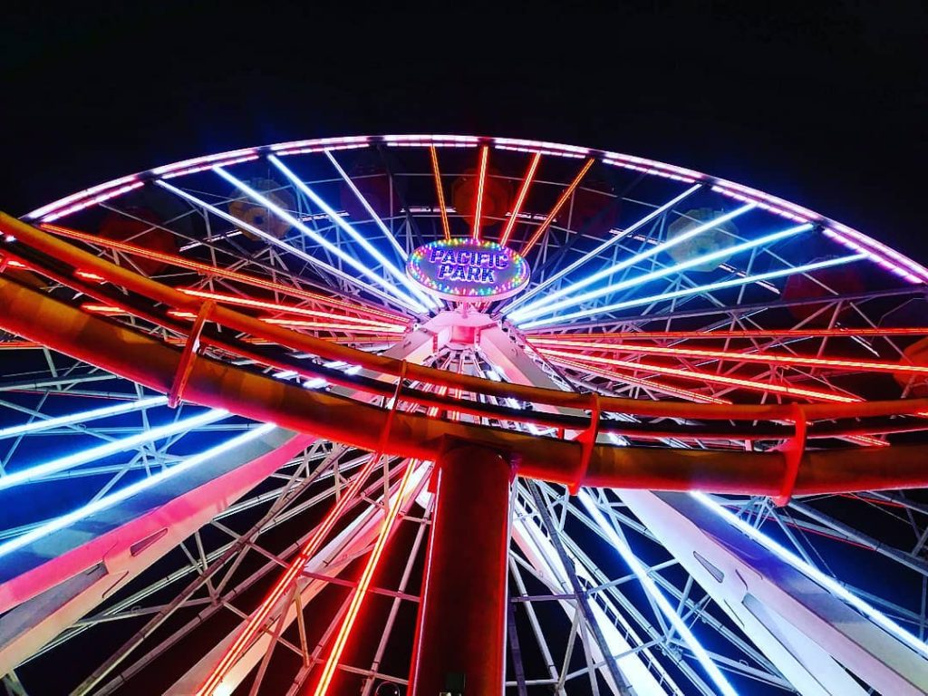 Pacific Wheel lights up in red, white, and blue