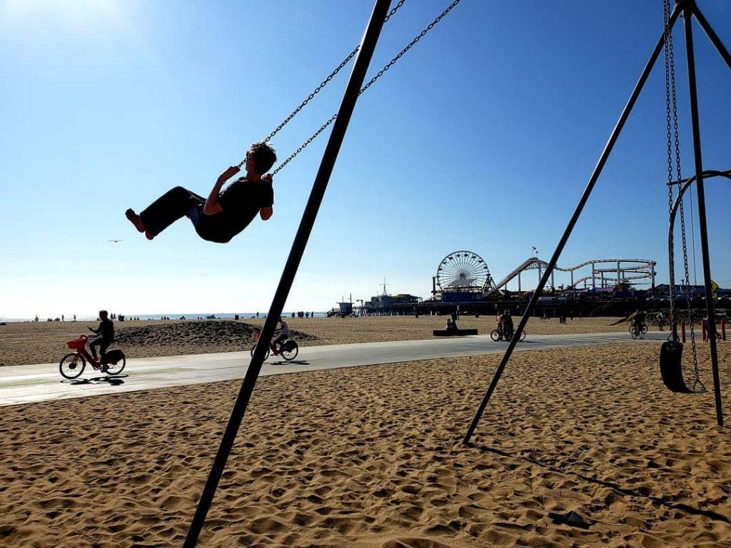 Swings in front of the Santa Monica Pier