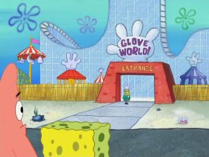 Spongebob and Patrick outside of Glove World