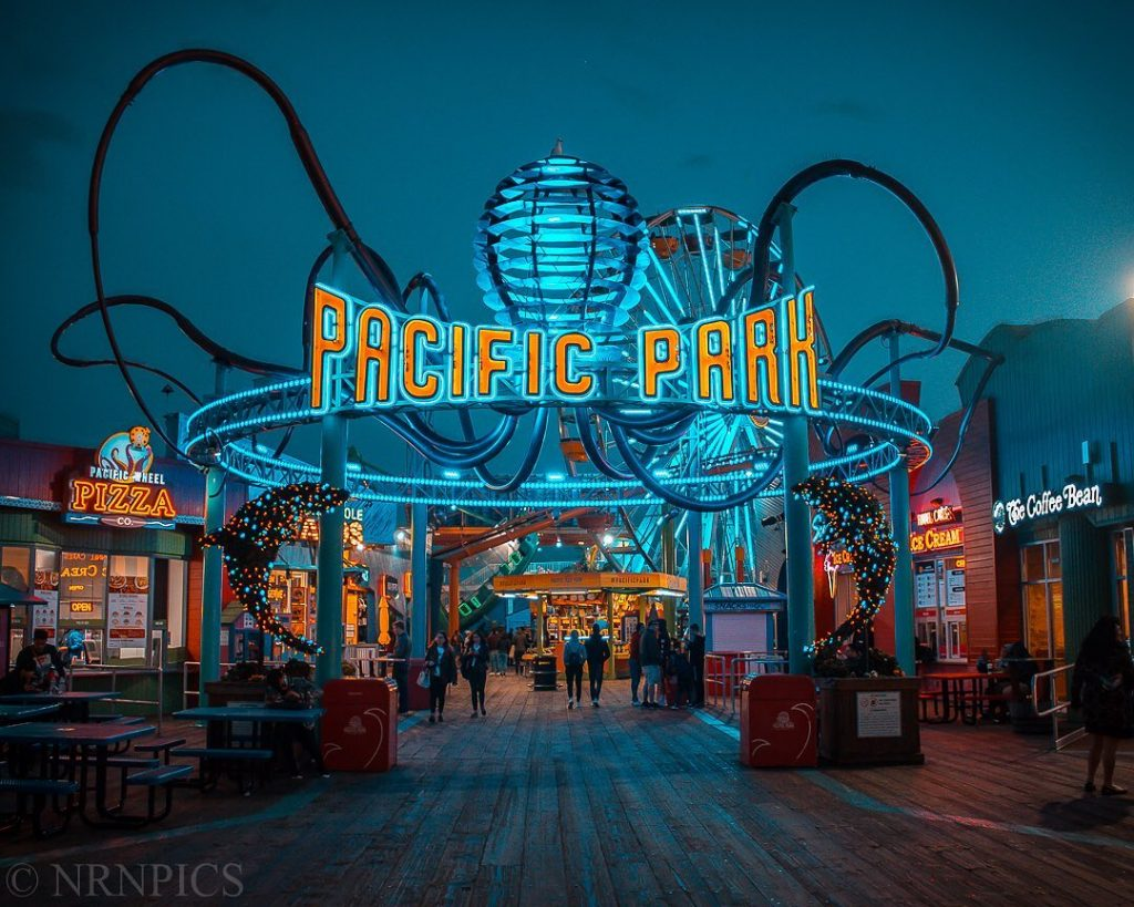 Pacific Park entrance at night