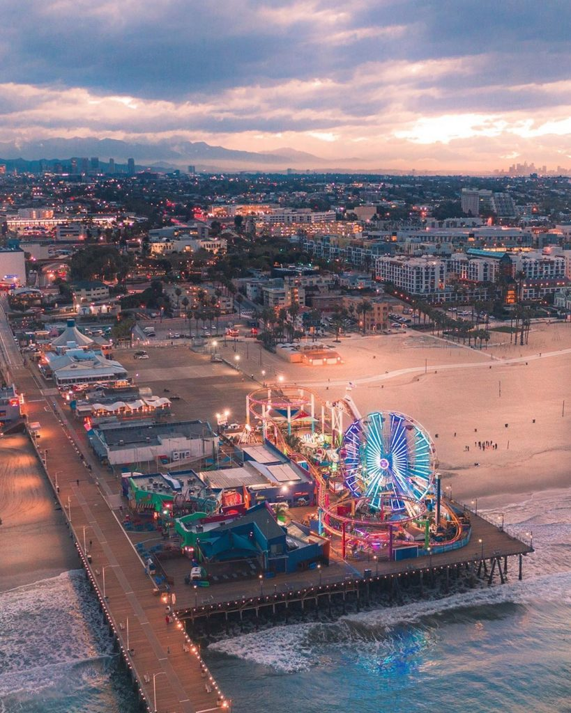 Overhead shot of the Santa Monica Pier