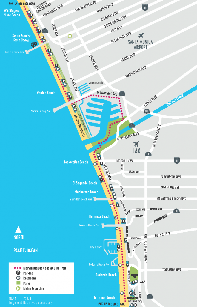 Map of the Marvin Braude Bike Trail form Torrence to Santa Monica