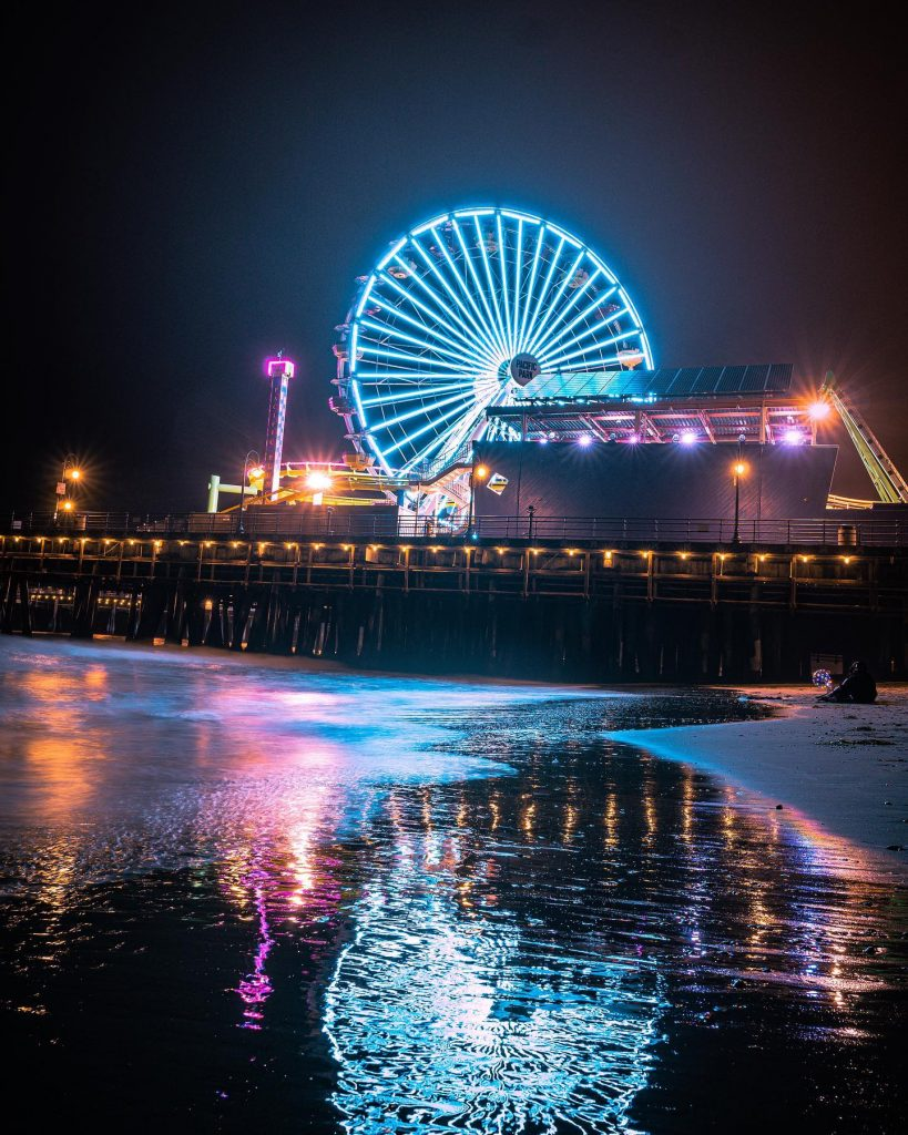 The Santa Monica Pier Ferris wheel with blue lights
