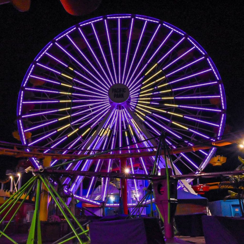 The Pacific Wheel in Santa Monica lit in purple for the LA Lakers in the NBA Finals – Photo by @beachinsoul