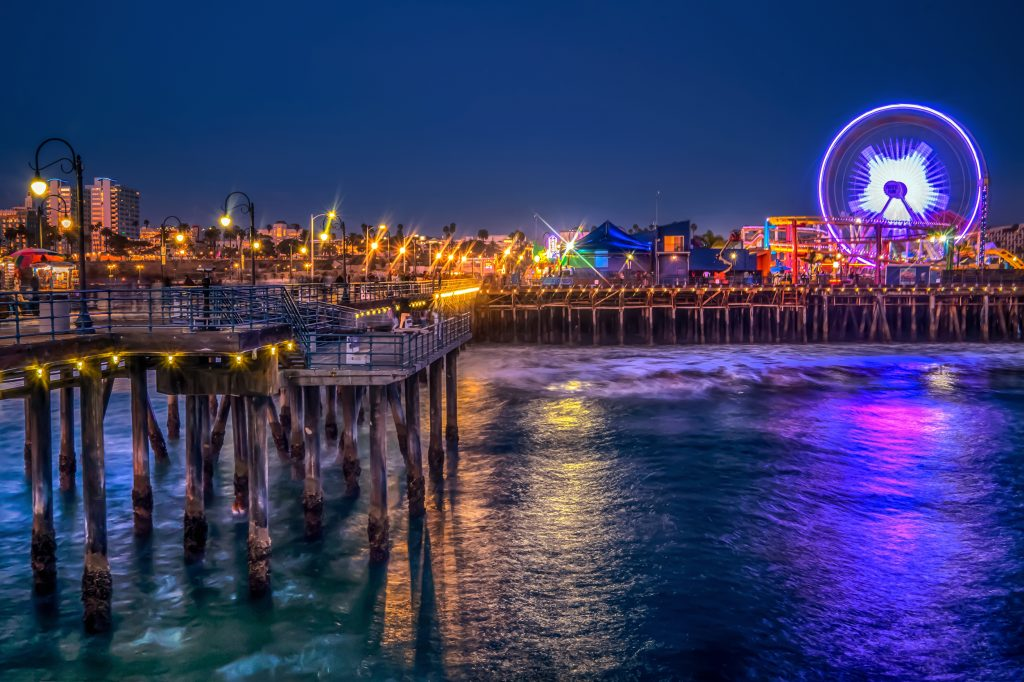 The Santa Monica Pier and Ferris Wheel at night