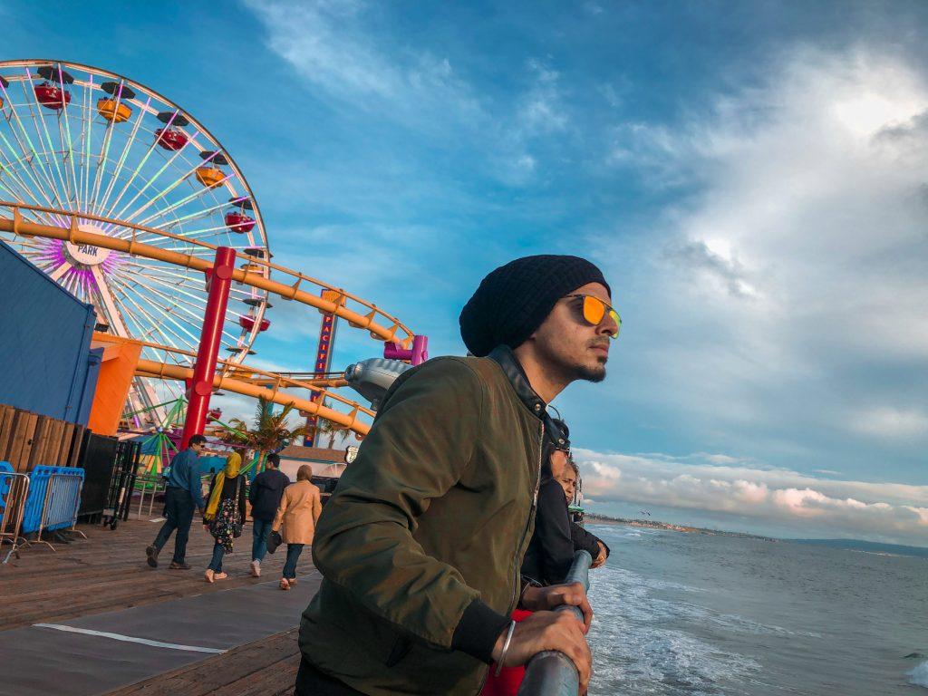Indian Travel YouTuber @Desi_Travels at the Santa Monica Pier