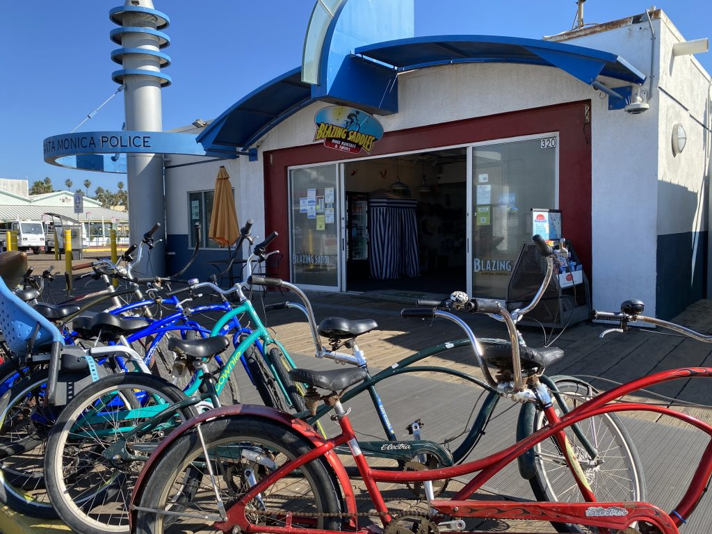 Bicycles outside Blazing Saddles Bike Rental on the Santa Monica Pier