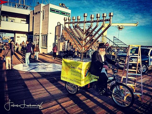 Hannukkah Menorah on the West end of the Santa Monica Pier