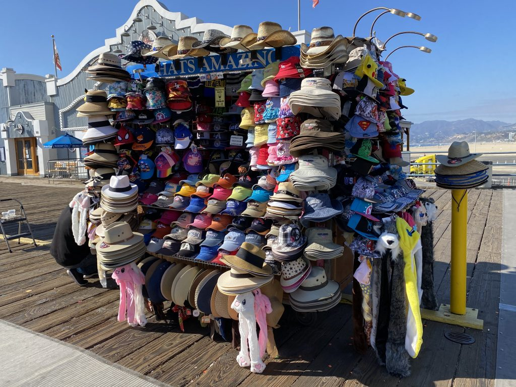 Hat cart on the Santa Monica Pier