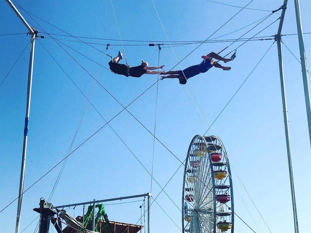 Trapeze flyers on the Santa Monica Pier