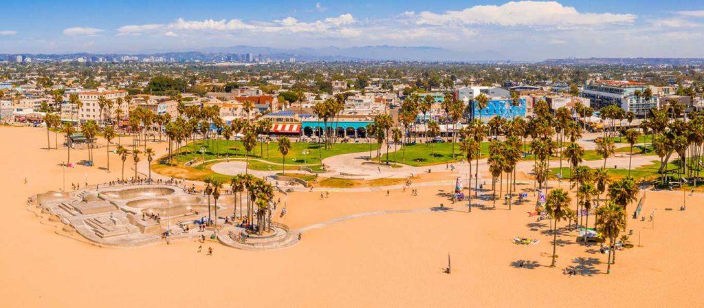 An aerial view of venice beach California