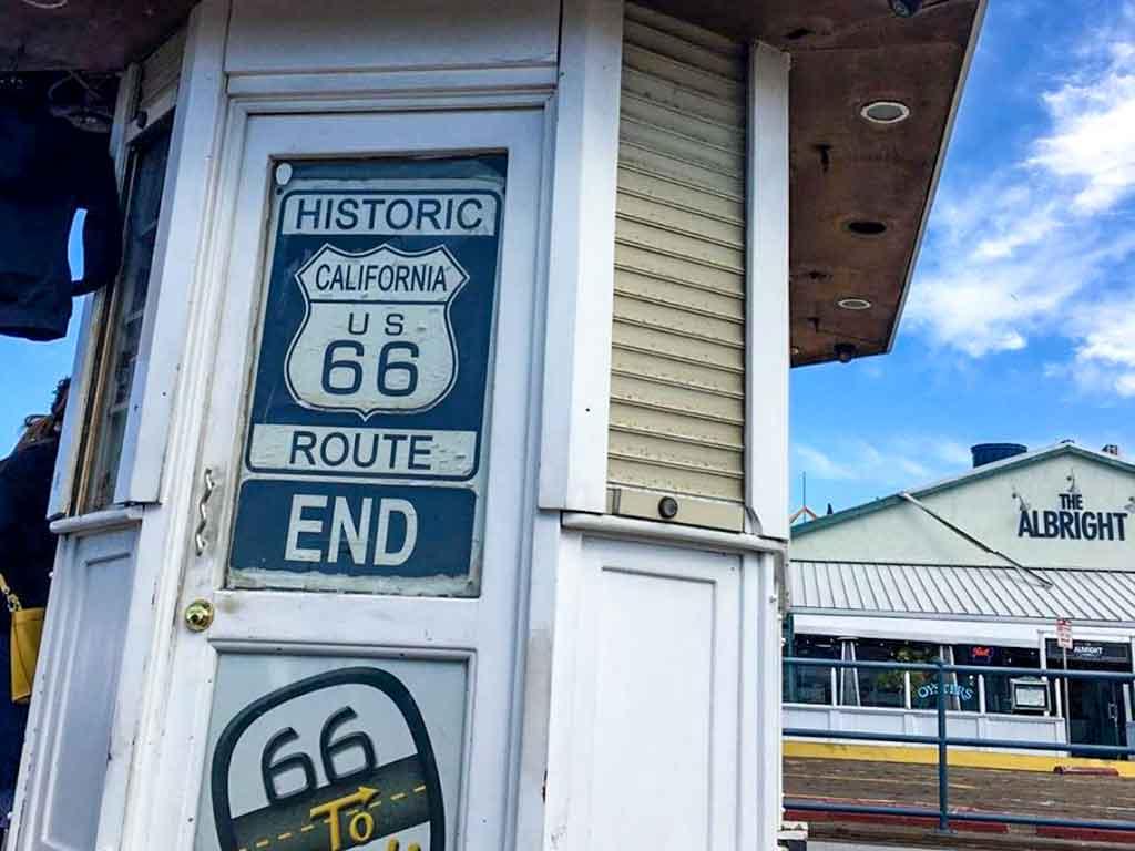 Route 66 kiosk on the Santa Monica Pier