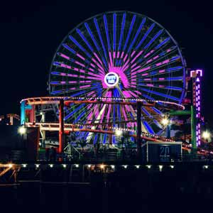 """A special message, """"Marry Me"""", displayed on the Santa Monica Pier Ferris Wheel for a proposal"""