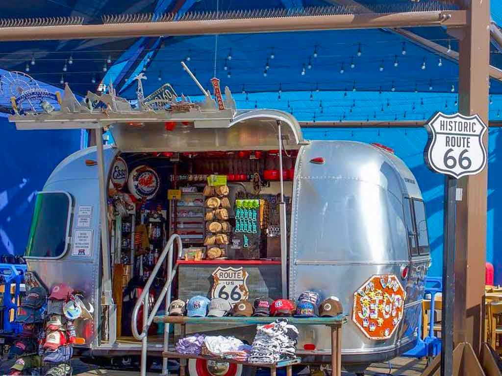 Airstream Route 66 retail trailer on the Santa Monica Pier