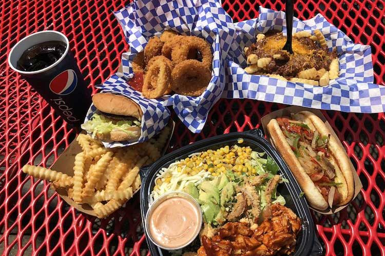 Burger, salad, hot dog and fries from Beach Burger on the Santa Monica Pier