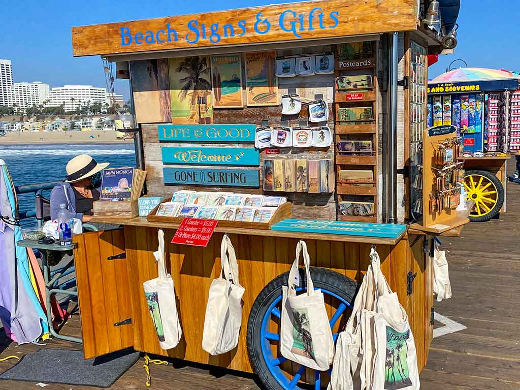 Beach Signs and Gifts cart on the Santa Monica Pier