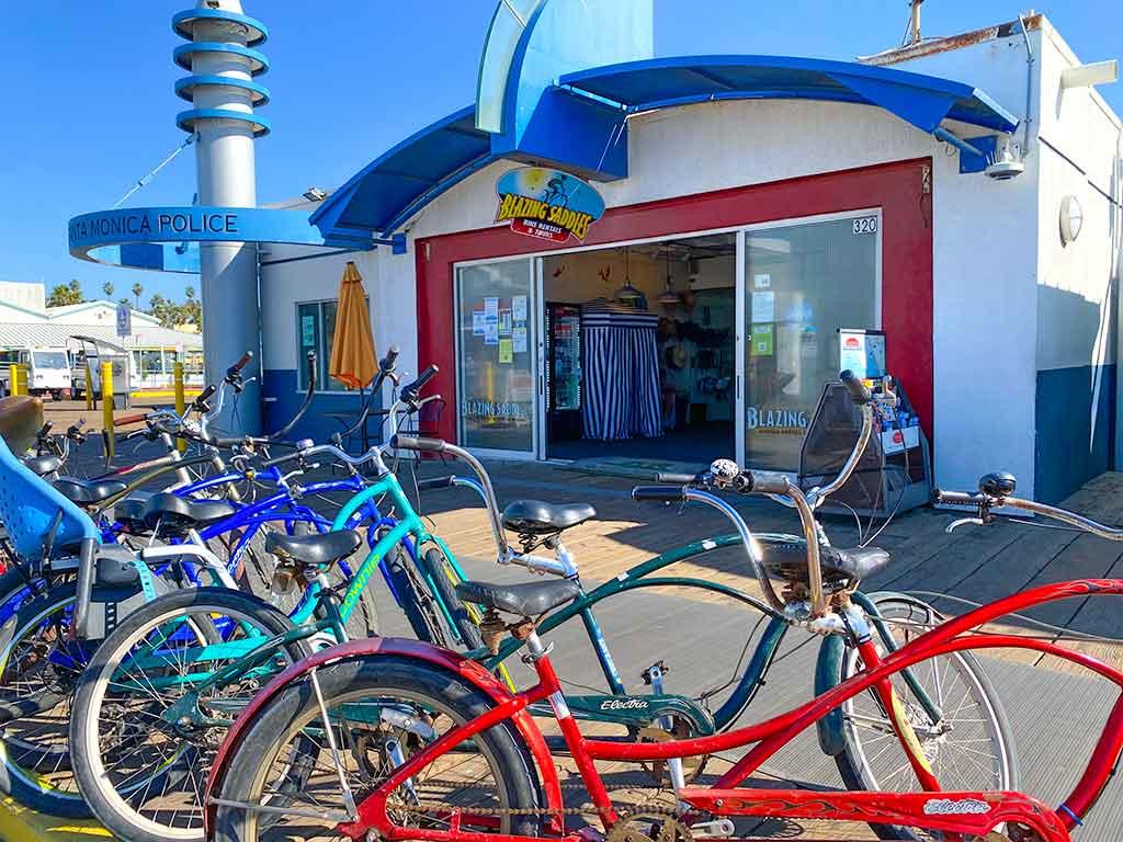 Bicycles outside Blazing Saddles Bike Rental on the Santa Monica Pier