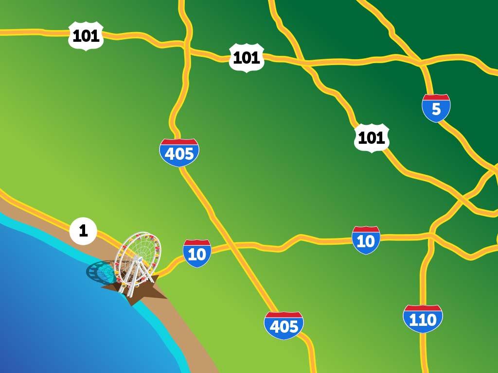 highway freeway map santa monica pier