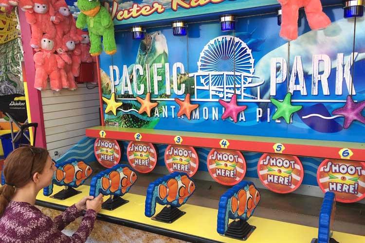 Kiddie water race game on the Santa Monica Pier