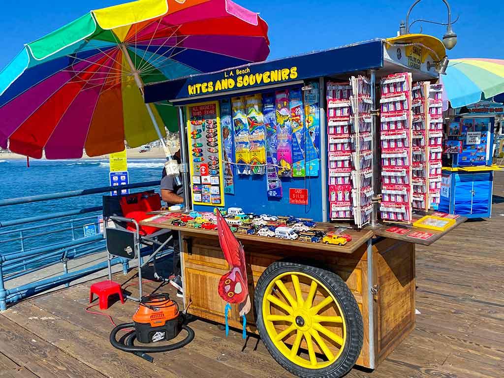 Beach kites and souvenirs cart on the Santa Monica Pier