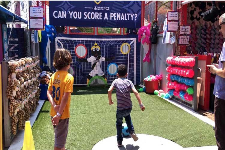 Soccer goal game on the Santa Monica Pier