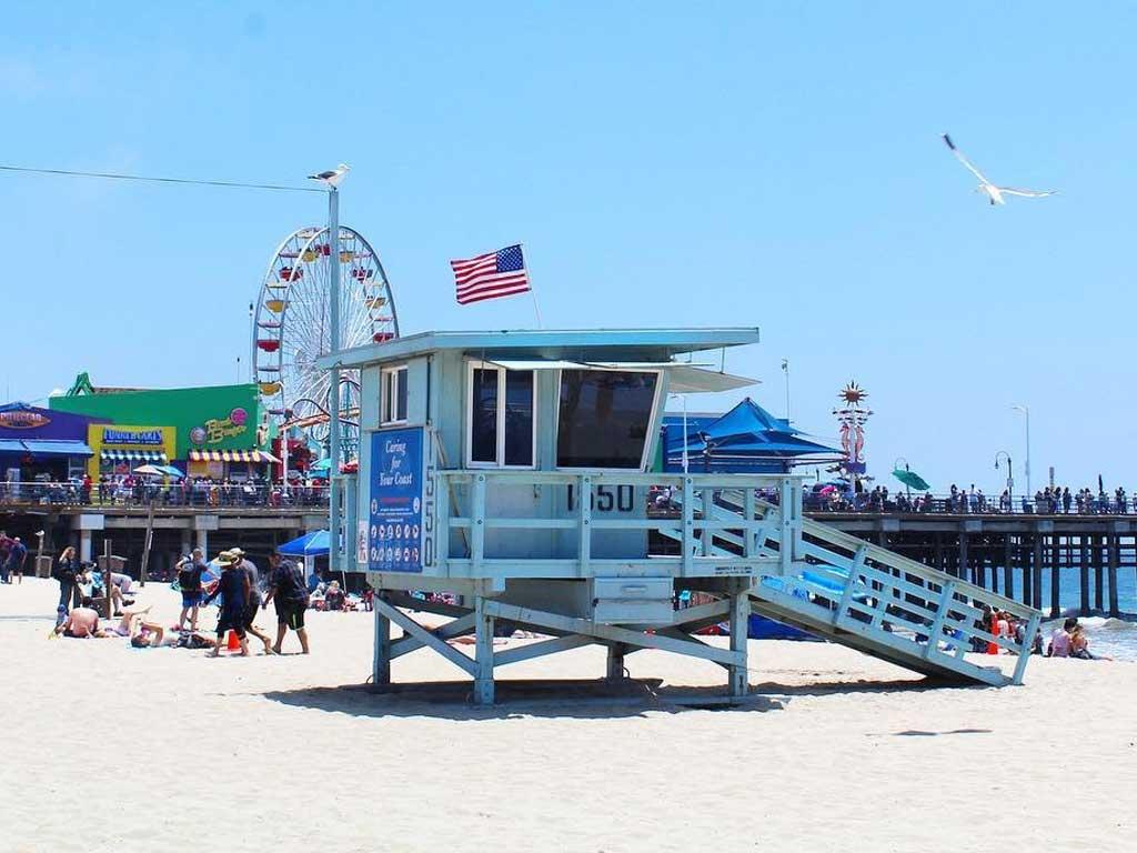 Lifeguard tower on Santa Monica State Beach
