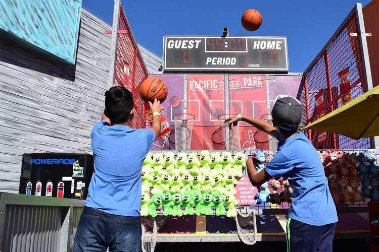 Long range basketball game on the Santa Monica Pier
