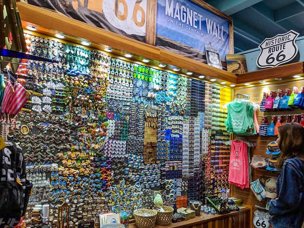 Magnet Wall gifts and souvenirs on the Santa Monica Pier