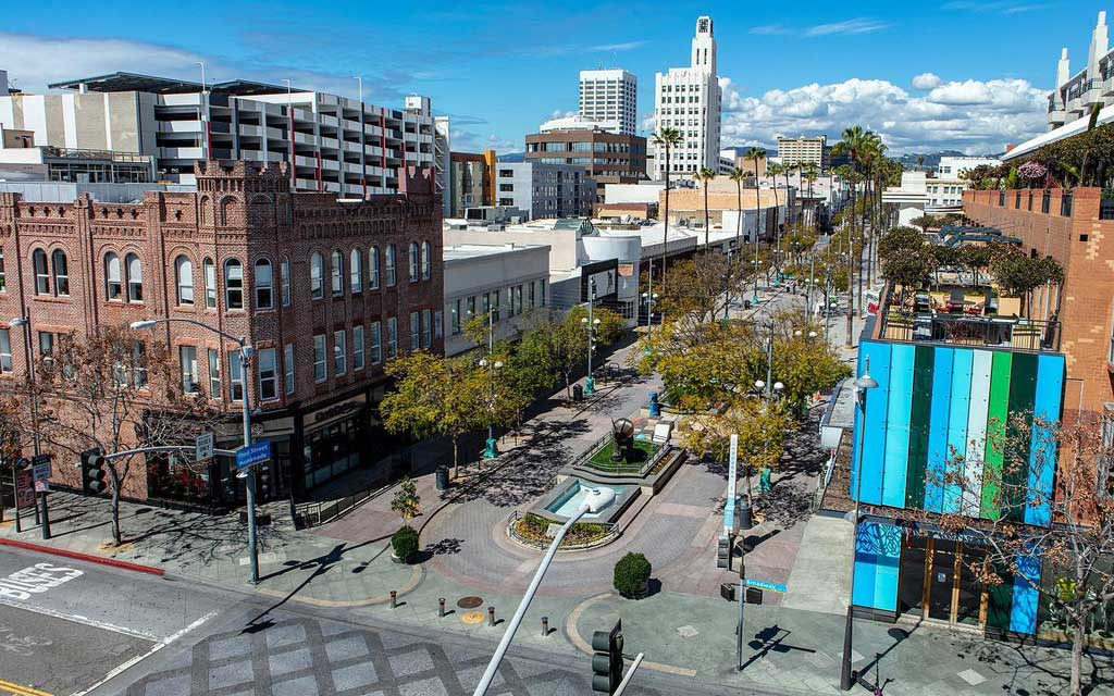Aerial view of Third Street Promenade in Santa Monica
