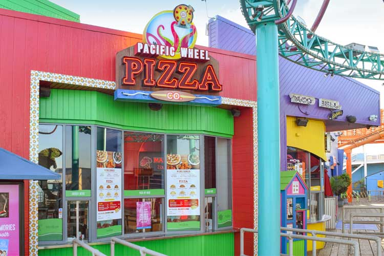 Exterior of Pacific Wheel Pizza Company restaurant on the Santa Monica Pier