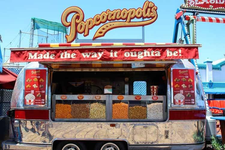 Popcornopolis Airstream trailer on the Santa Monica Pier