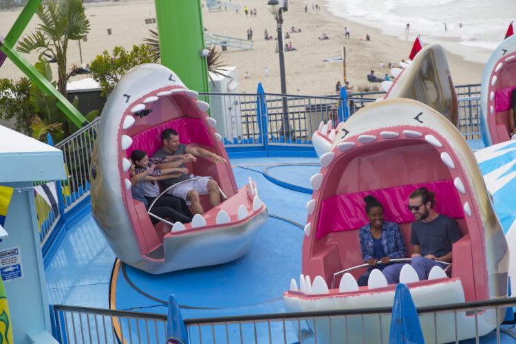 Shark Frenzy tilt-a-whirl ride on the Santa Monica Pier