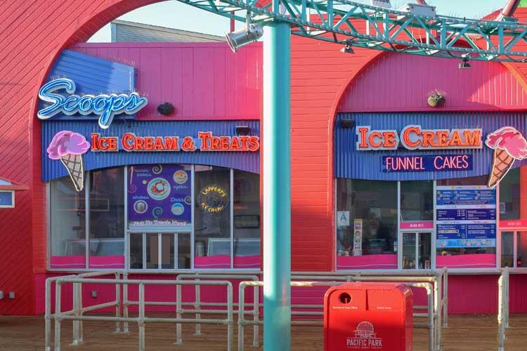 Exterior of Scoops Ice Cream on the Santa Monica Pier
