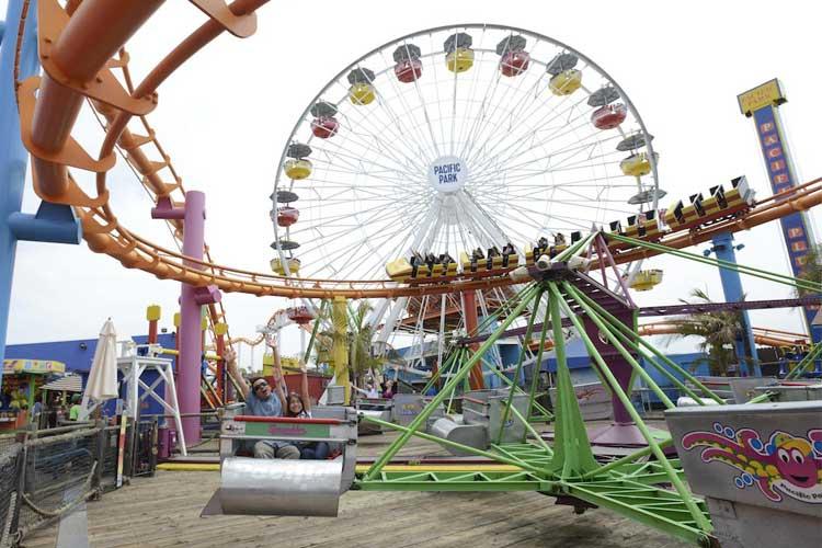 Scrambler amusement park ride on the Santa Monica Pier