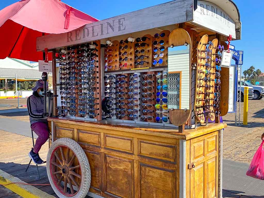 Sunglasses cart on the Santa Monica Pier