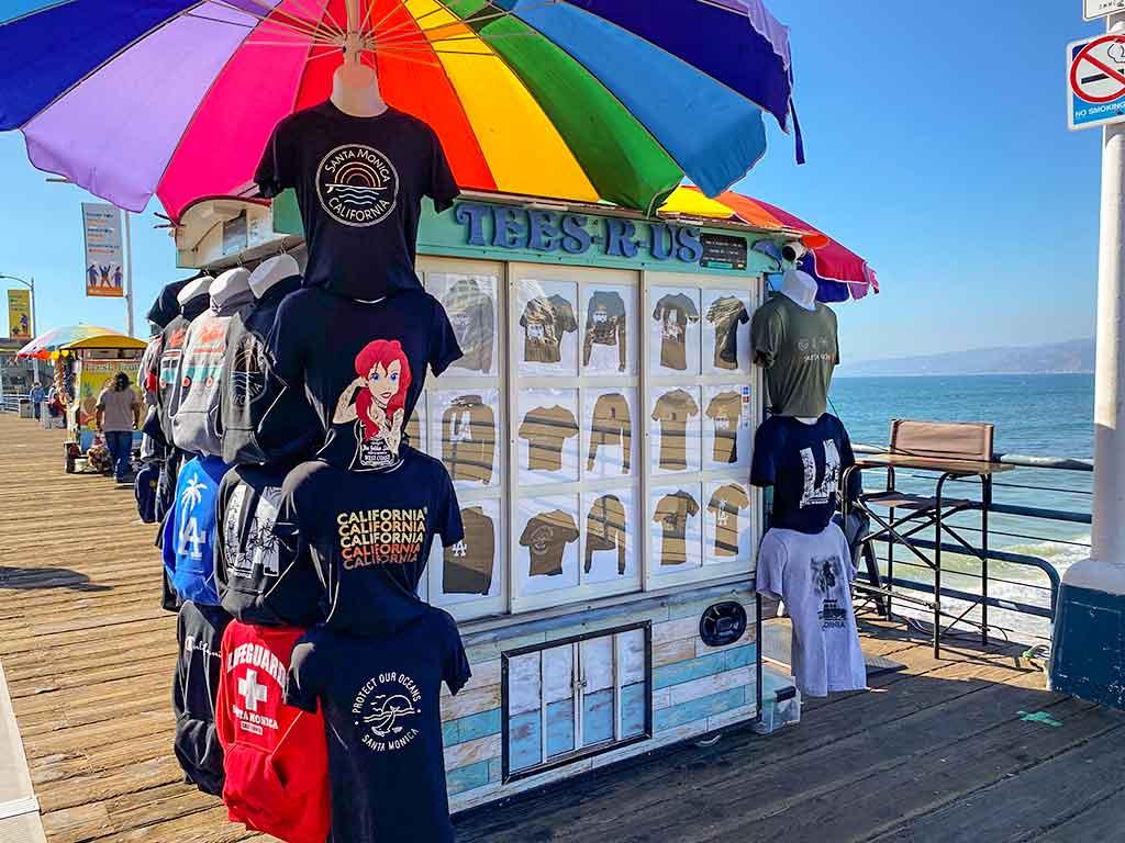 T-shirt cart on the Santa Monica Pier