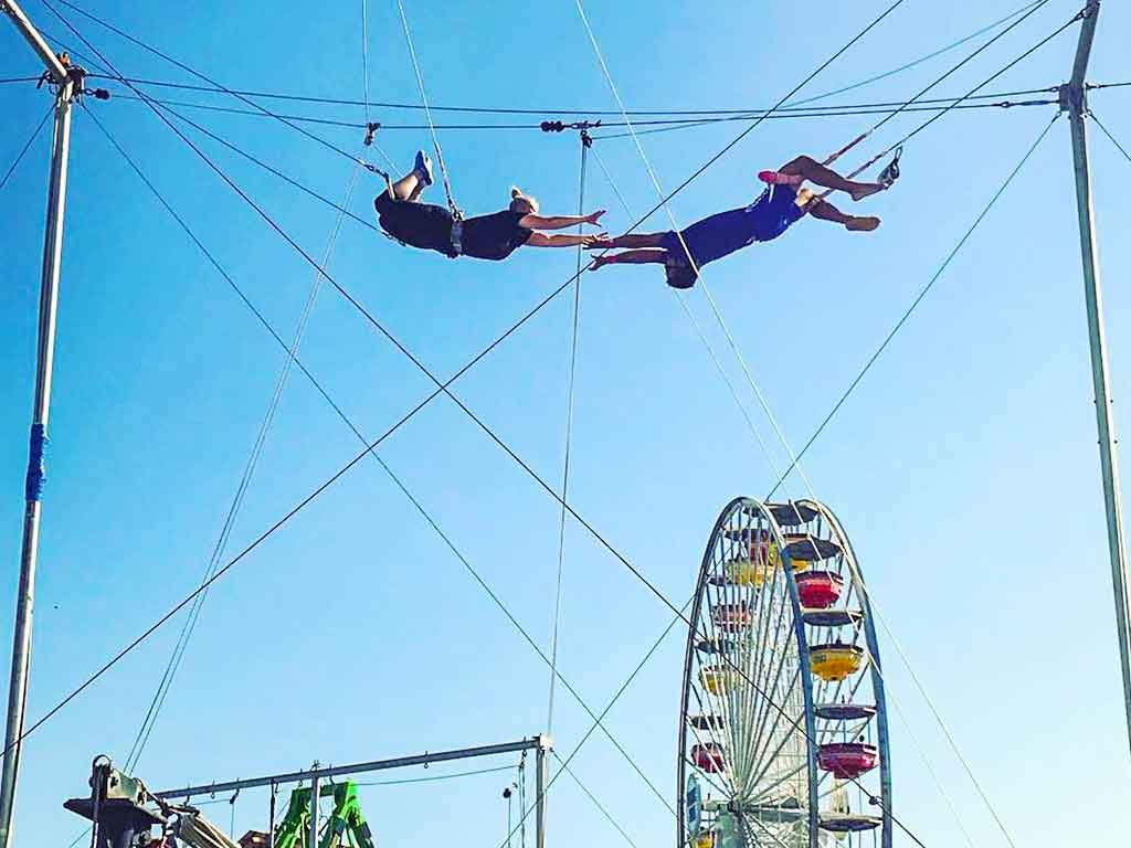 Trapeze flyers on the Santa Monica Pier