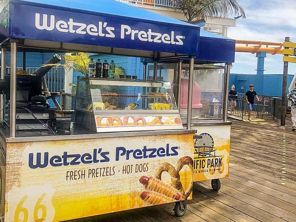 Wetzel's Pretzel cart on the Santa Monica Pier
