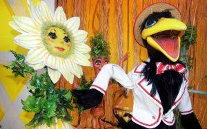 Sunflower and bird marionettes