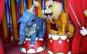 Elephant and Lion marionettes