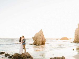 Couple hugging on Matador Beach